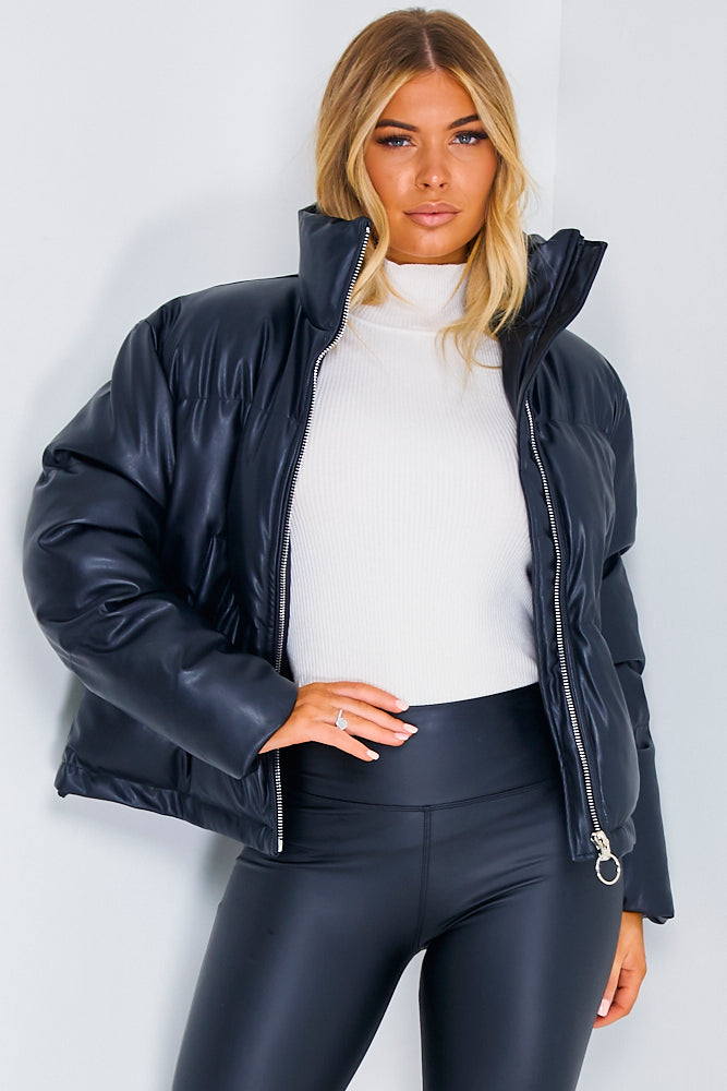Black PU Zip Up Puffer Jacket