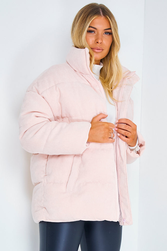 Pink Cord Ribbed Puffer Jacket