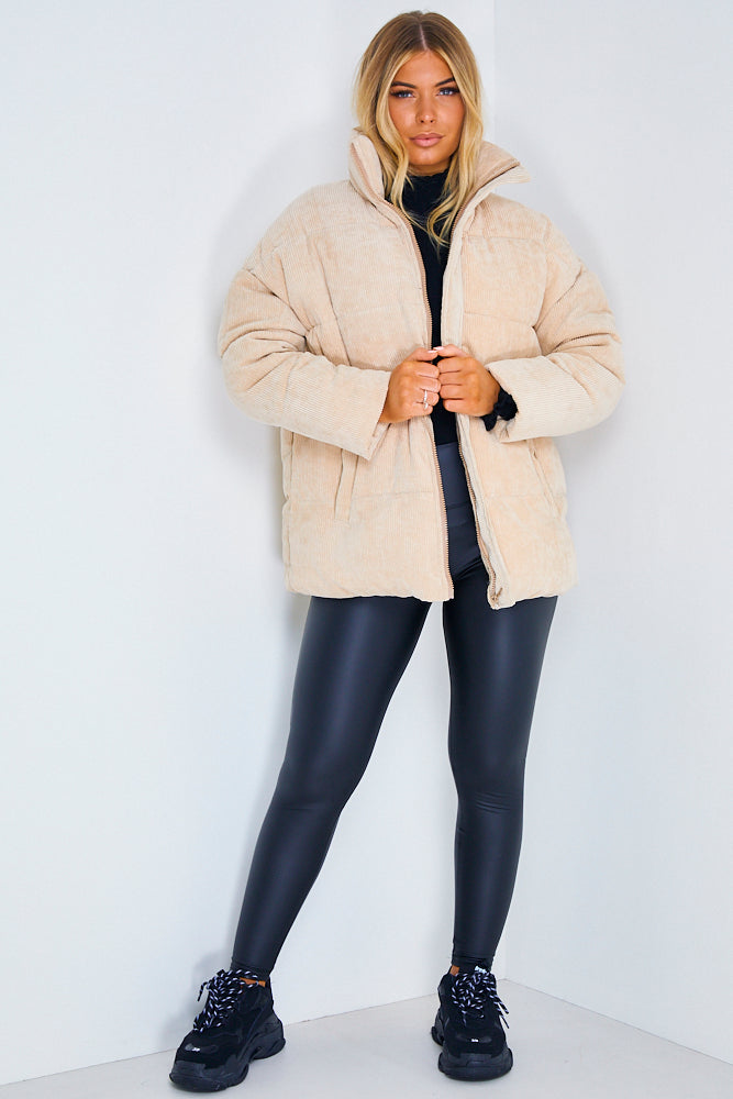 Sand Cord Ribbed Puffer Jacket