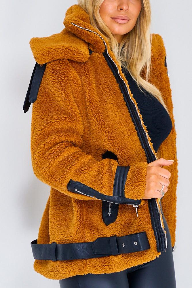 Camel Borg Teddy Jacket With Leather Trims
