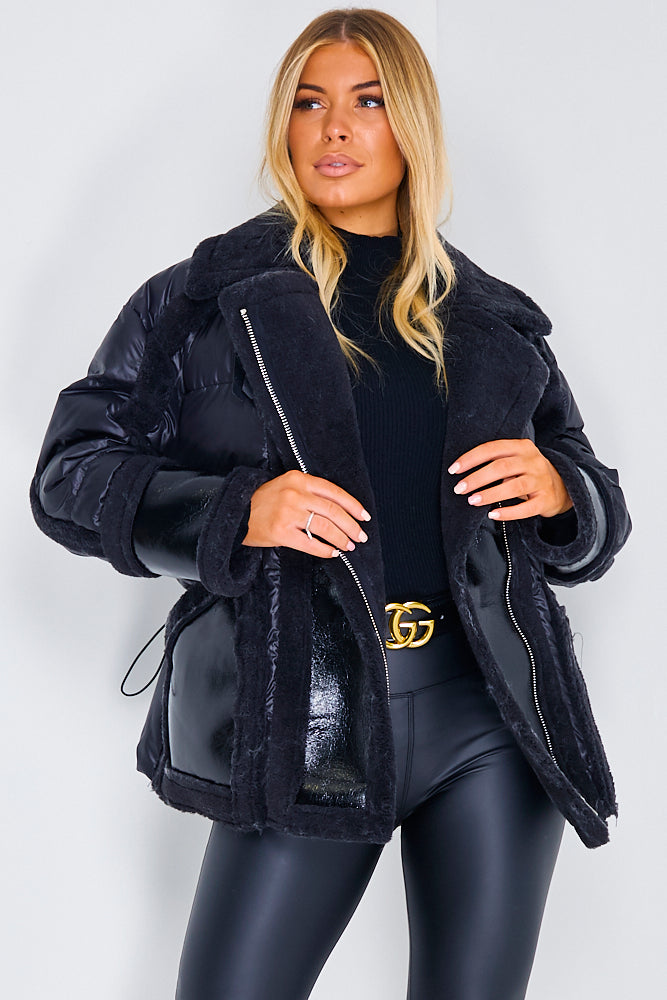 Black Puffer Aviator Coat With Fur Trims