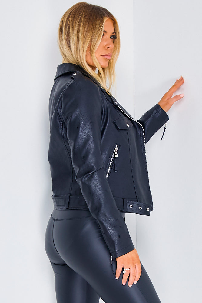 Black PU Faux Leather Biker Jacket