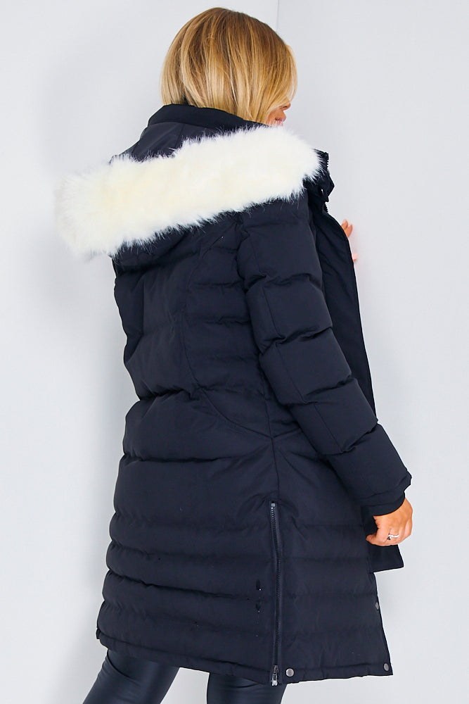 Black Longline Puffer Faux Fur Coat