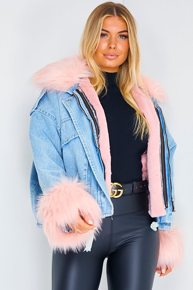 Blue Denim With Pink Faux Fur Jacket