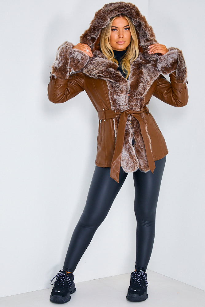Brown PU Faux Leather Faux Fur Belted Coat