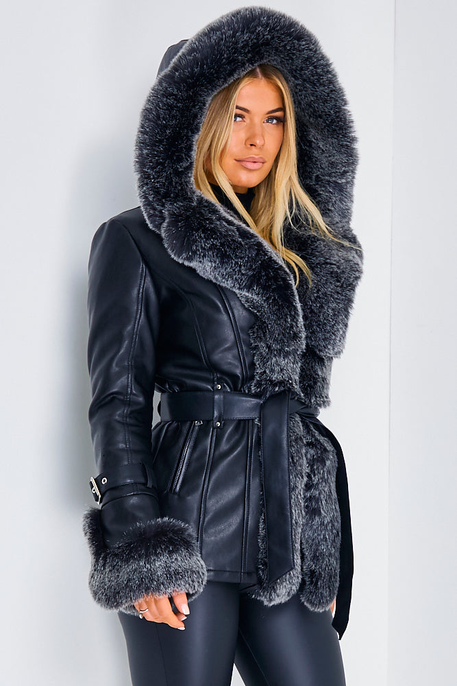 Black PU Faux Leather Faux Fur Belted Coat