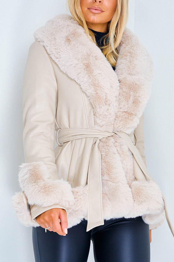 Cream Faux Leather Fur Hem Tie Waist Coat