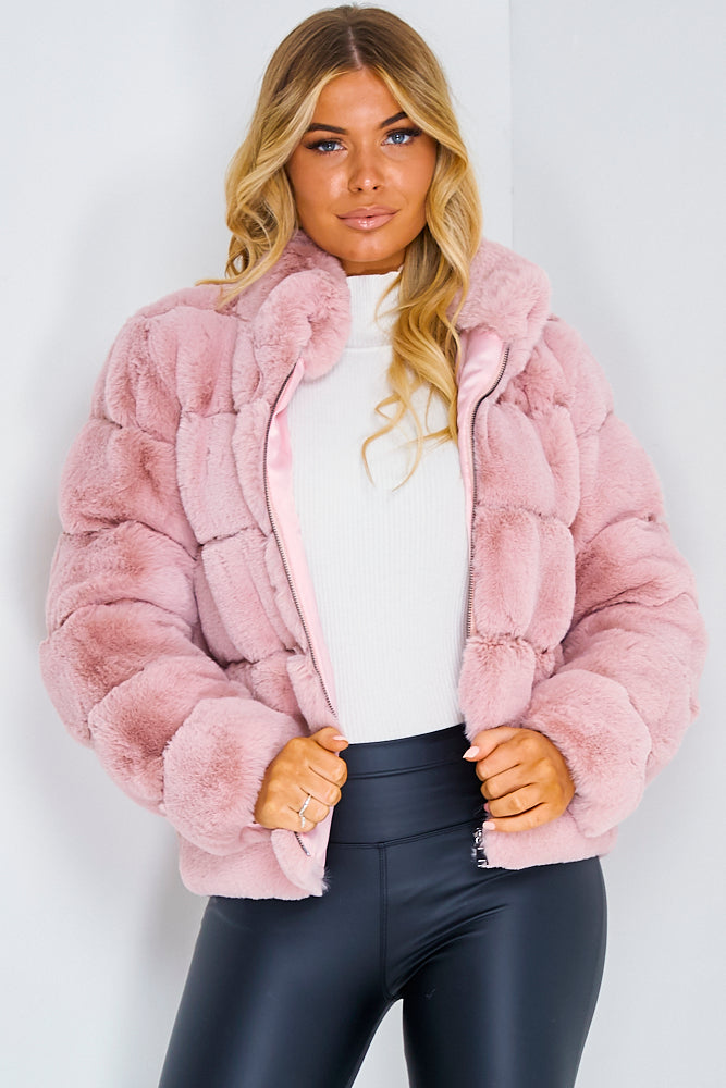 Pink Fur Bubble Coat