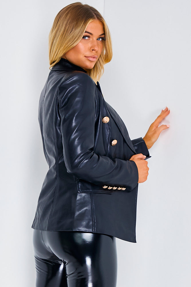 Black PU Faux Leather Double Breasted Jacket