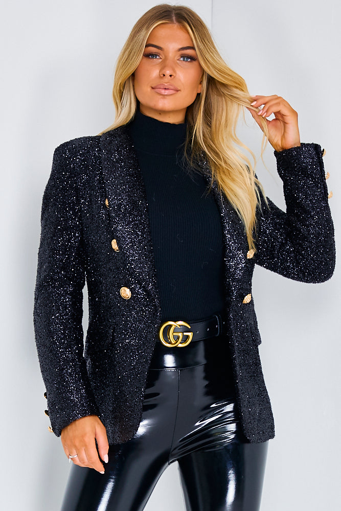 Black Luxury Glitter Blazer