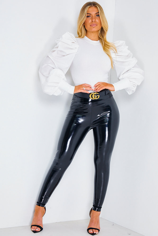 White Cotton Fitted Puff Sleeve Jumper