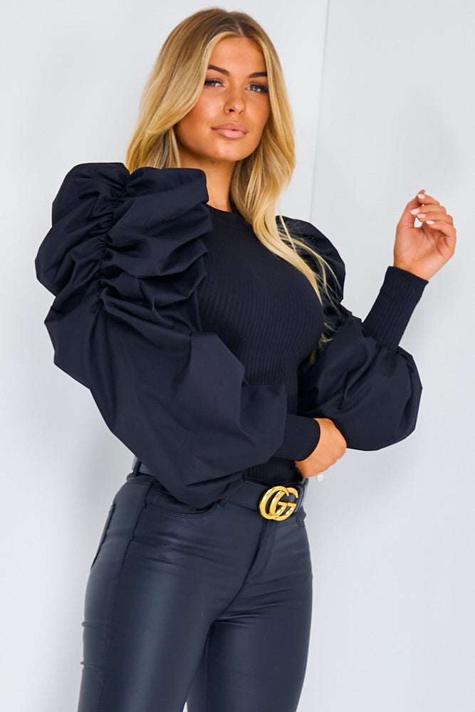 Black Cotton Fitted Puff Sleeve Top