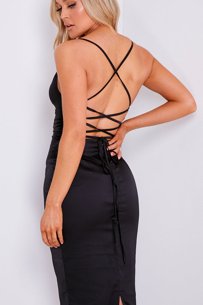 Black Satin Cowl Neck Lace Up Midi Dress