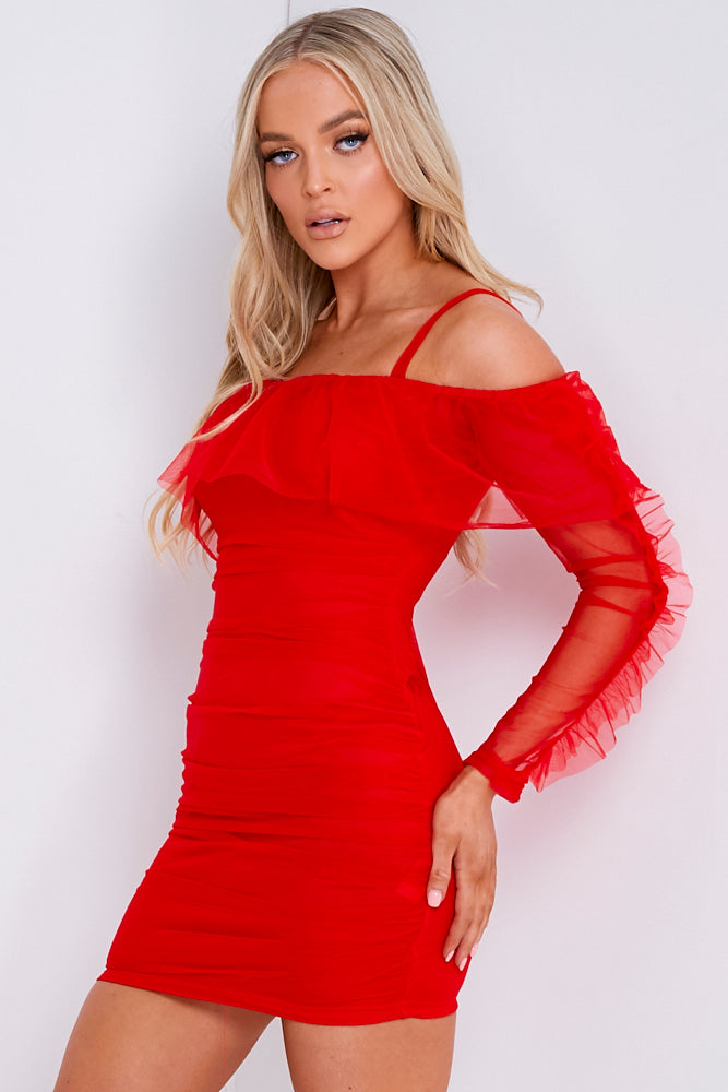 Red Ruched Mesh Bardot Mini Dress