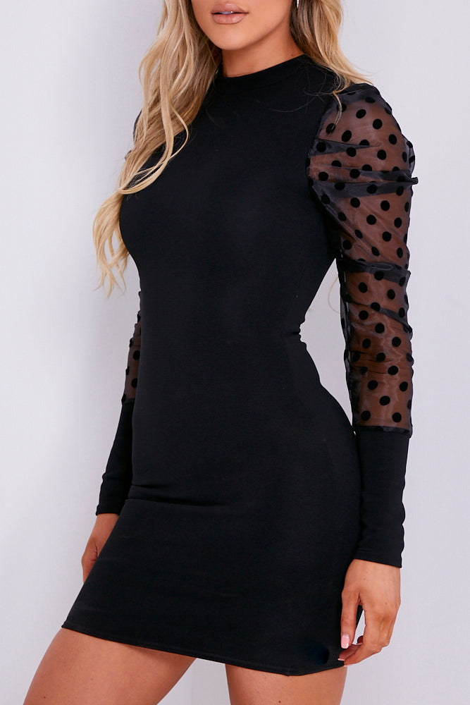 Black Ribbed Organza Polka Dot Sleeve Mini Dress