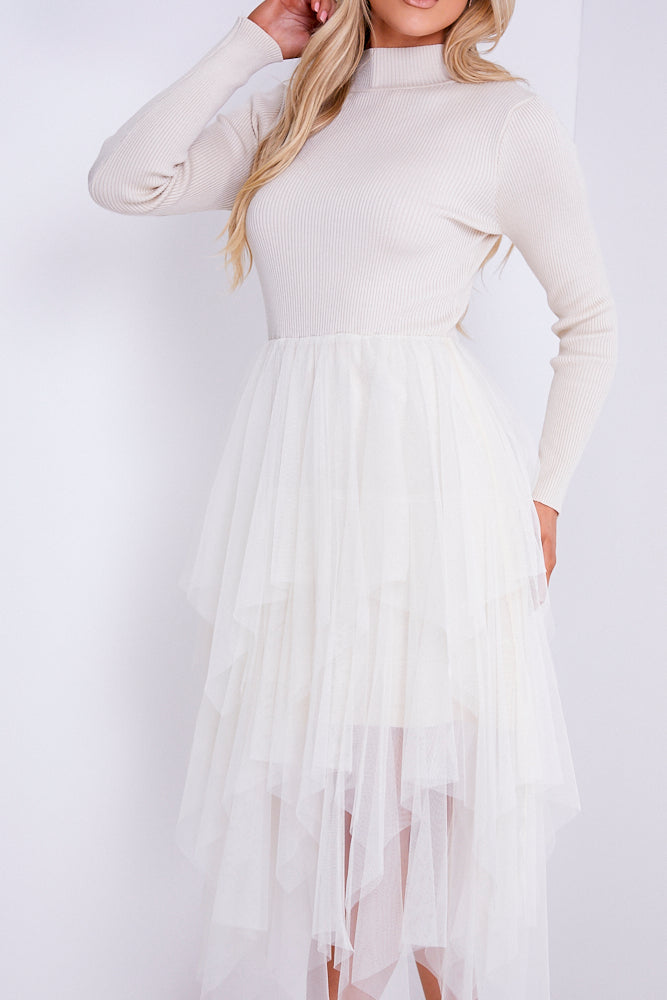 Cream Knitted Tutu Midi Dress