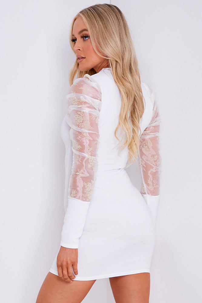 White Ribbed Organza Floral Sleeve Mini Dress