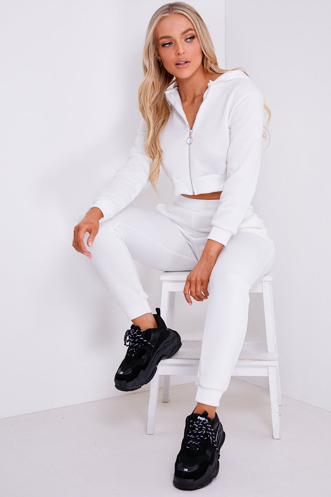 White Zip Up Detail Loungewear Set