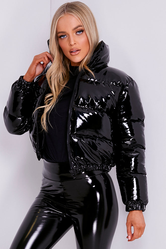 Black Vinyl Cropped Puffer Jacket