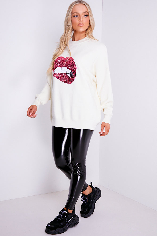 Cream Sequin Lips Knitted Jumper