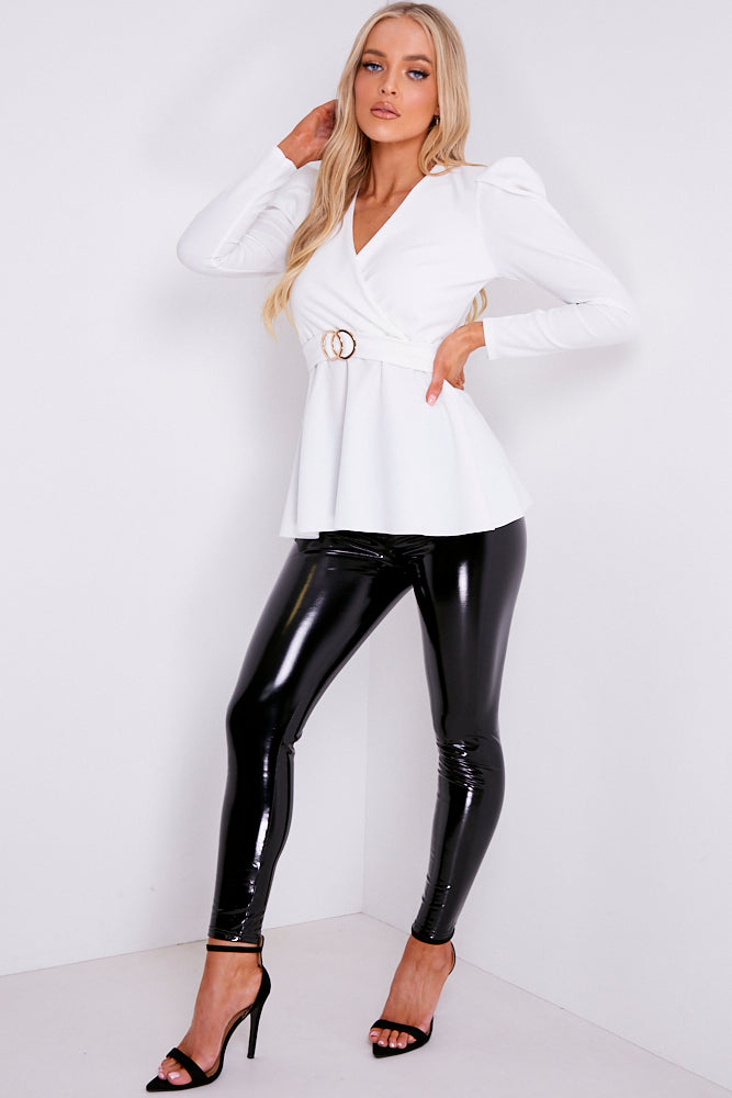 White Plunge Double Circle Belted Puff Sleeve Top