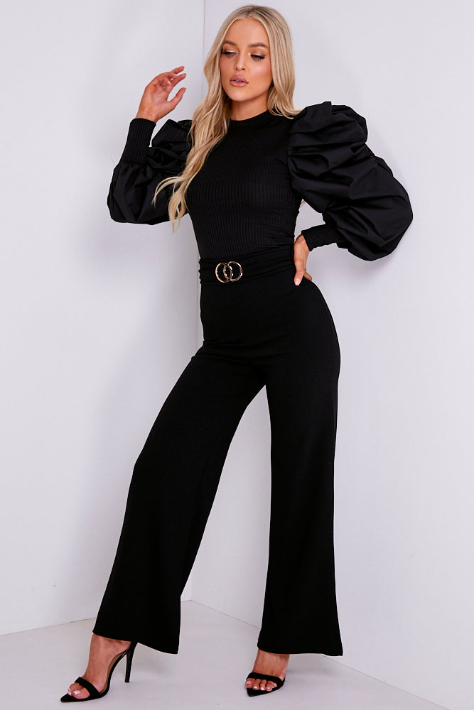 Black Double Circle Belted Wide Leg Trousers