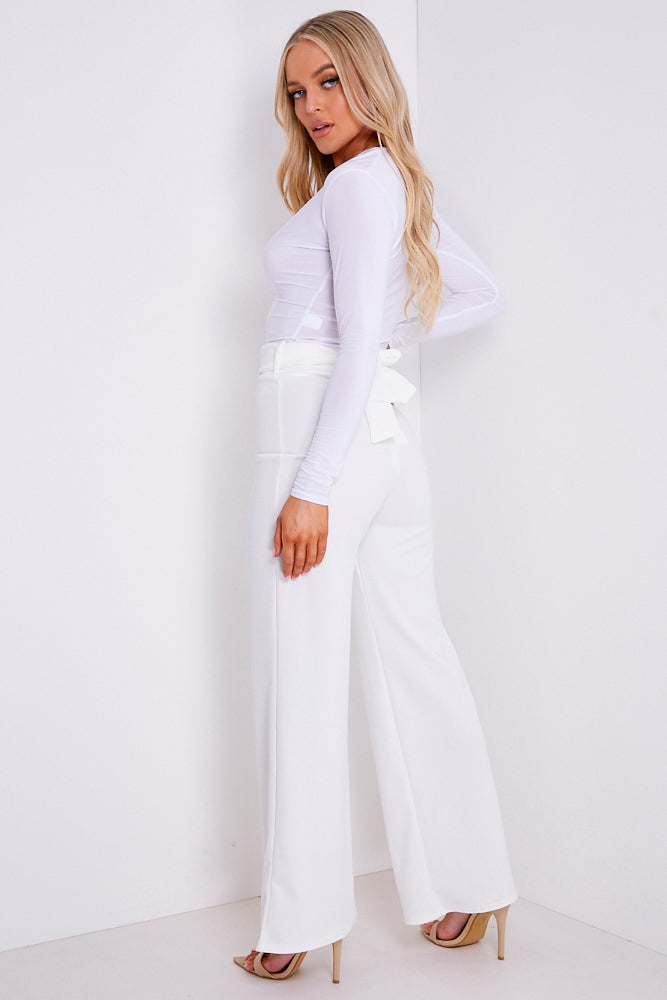 White Double Circle Belted Wide Leg Trousers
