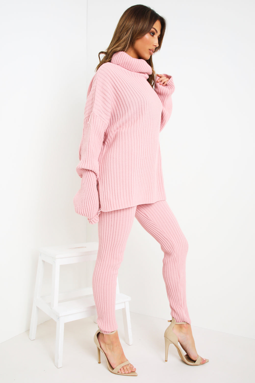 Pink Oversized Roll Neck Co-Ord