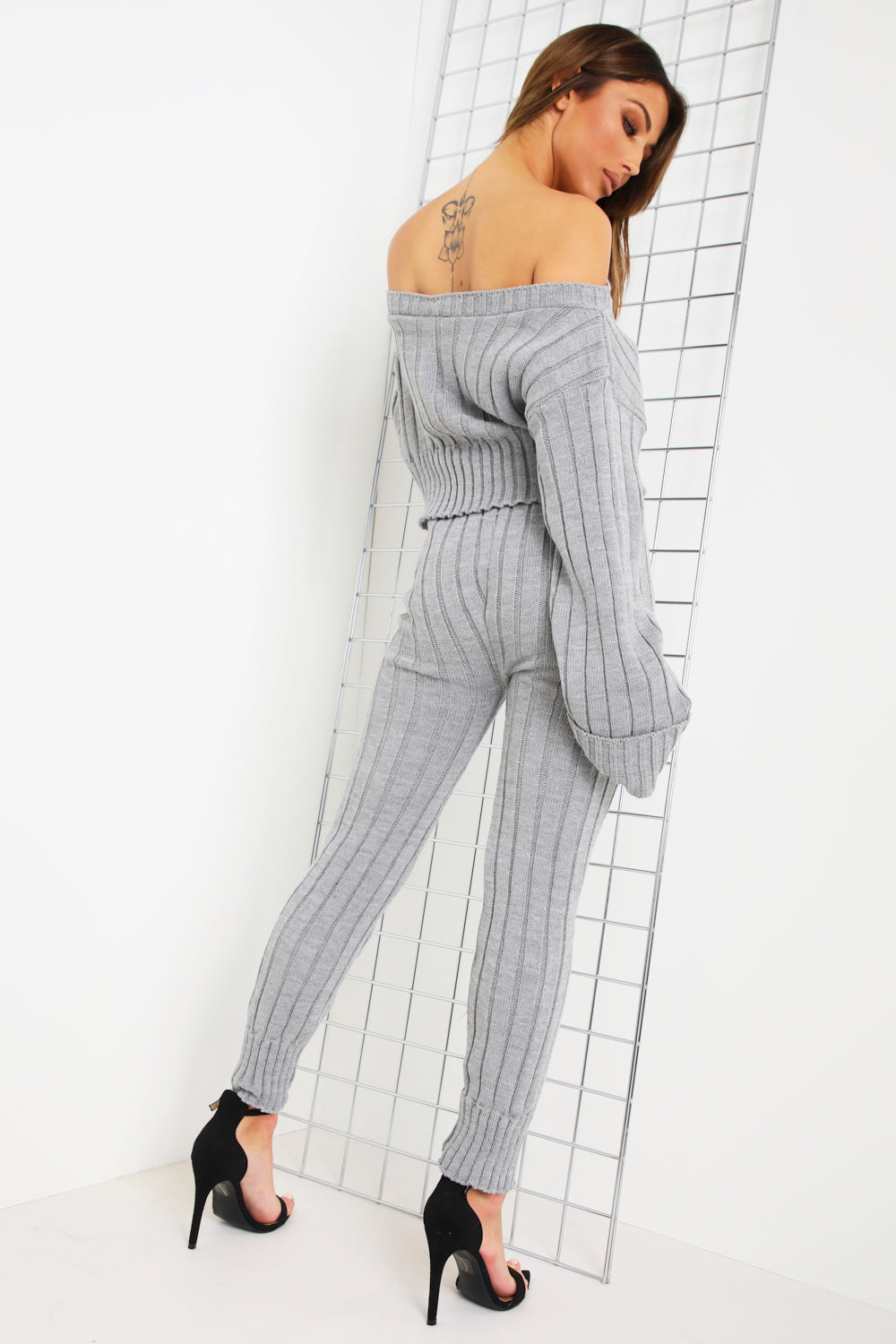 Grey Chunky Ribbed Bardot Sweater & Leggings Co-Ord