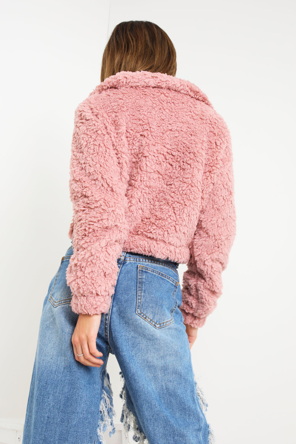 Pink Teddy Faux Fur Zip Up Jacket