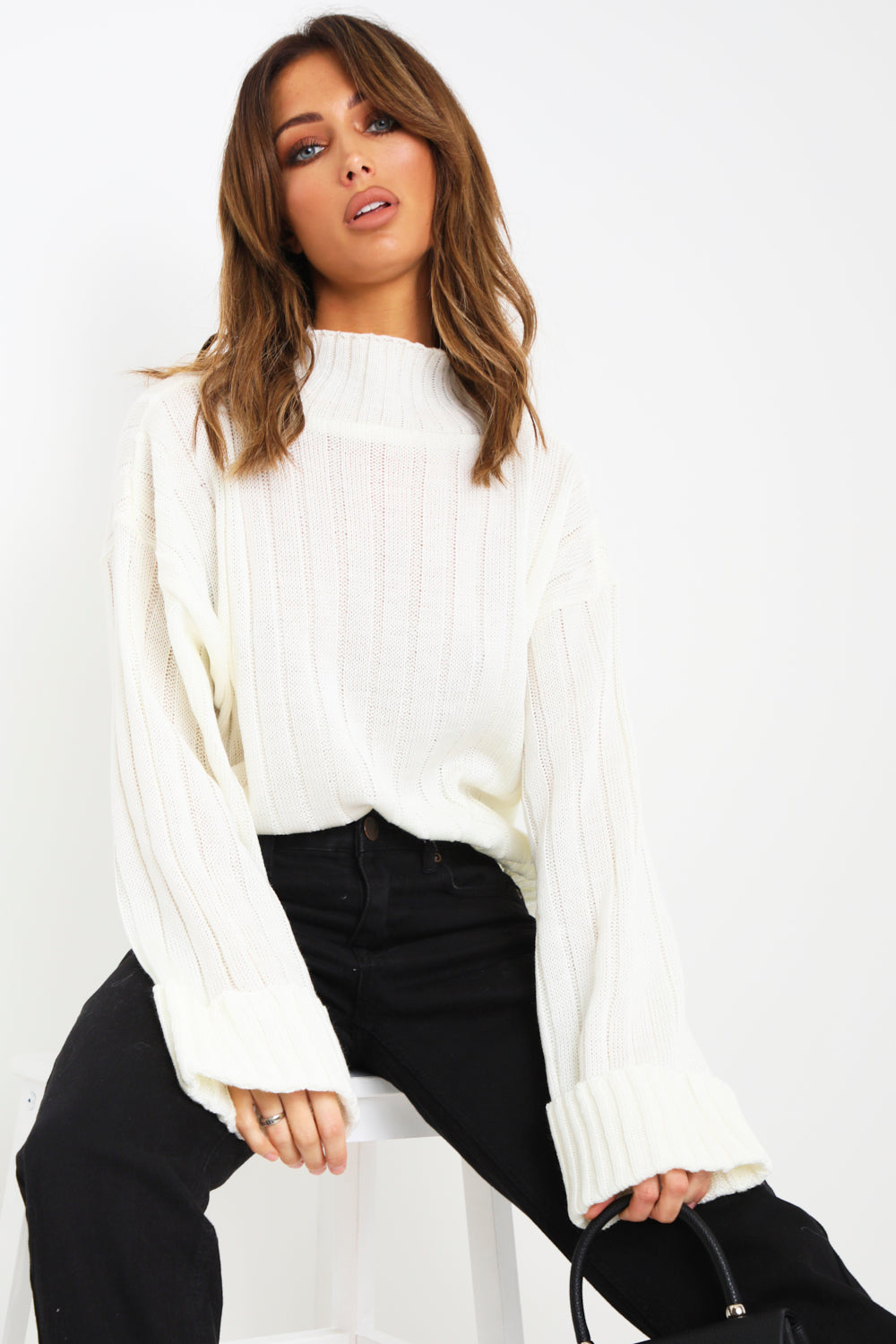 Cream High Neck Knit Jumper