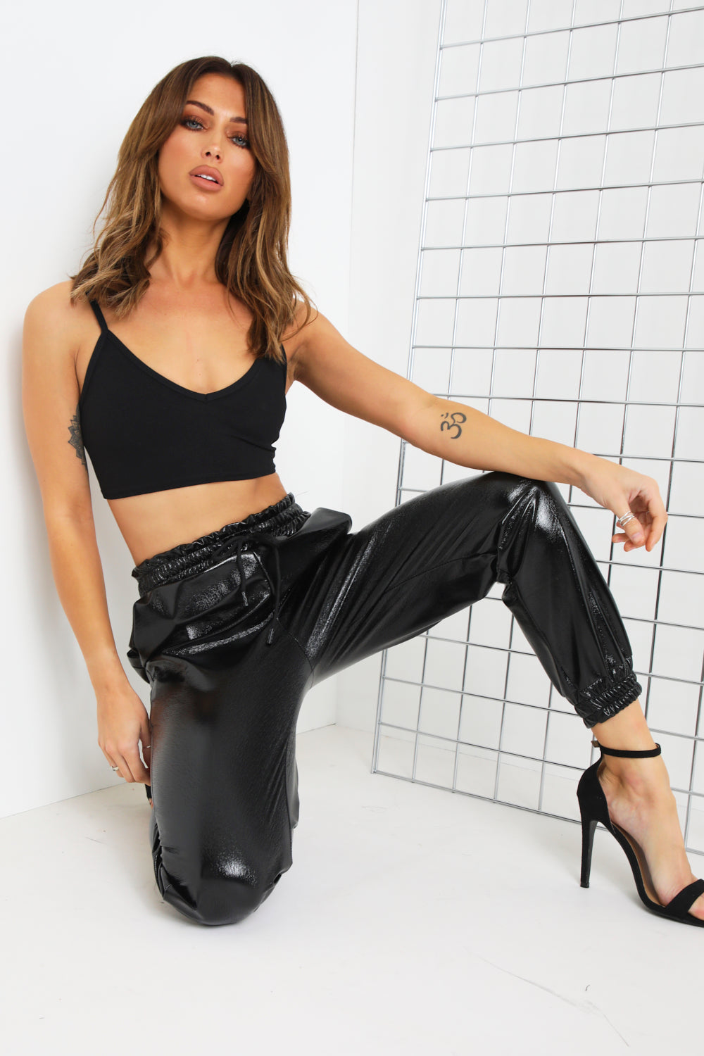 Black Vinyl Leather Joggers