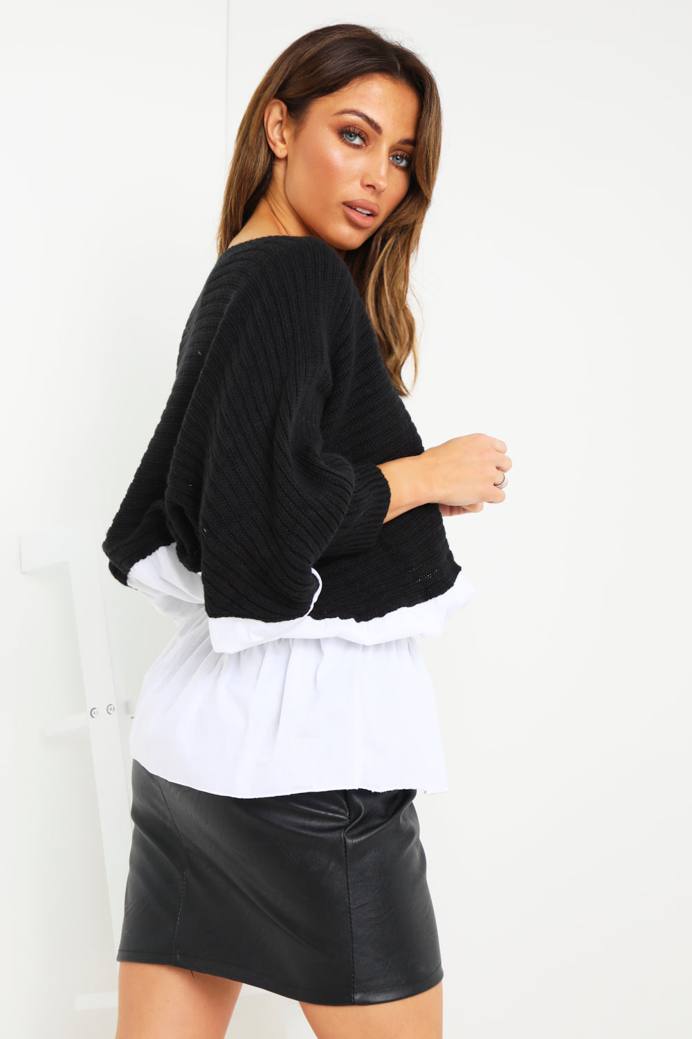 Black Ruched Shirt Jumper