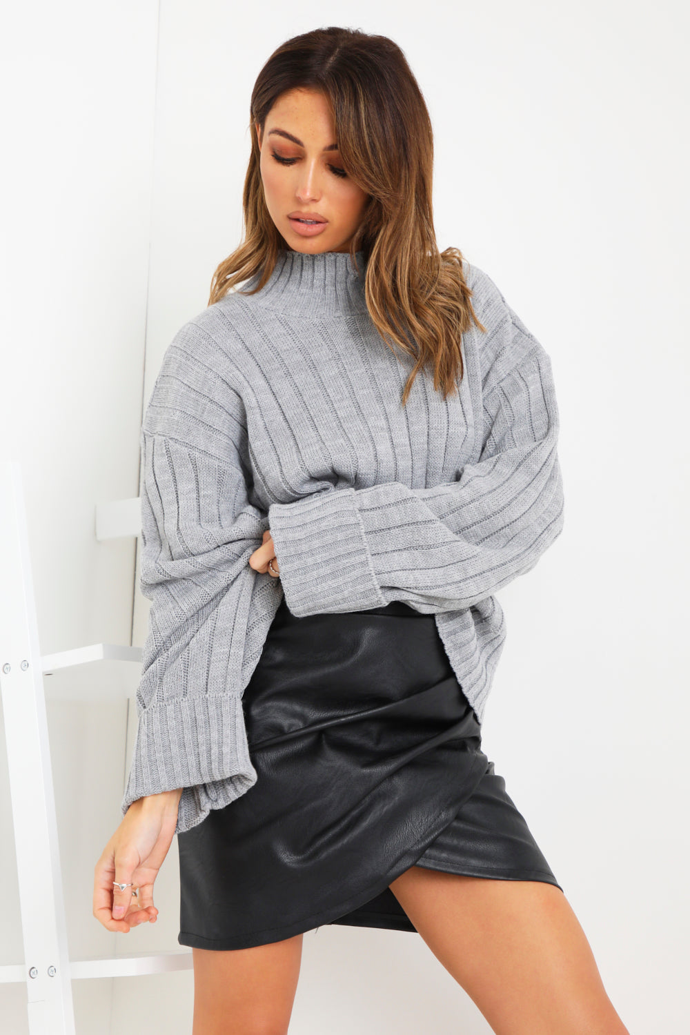 Grey High Neck Knit Jumper