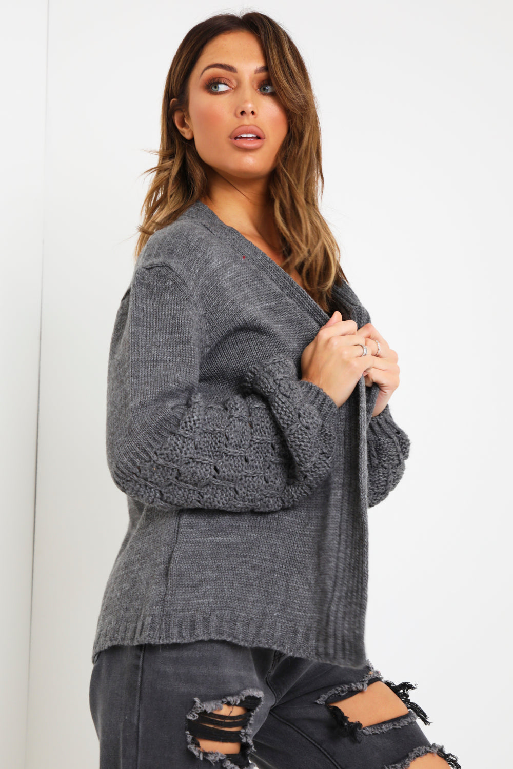 Charcoal Bubble Sleeve Cardigan