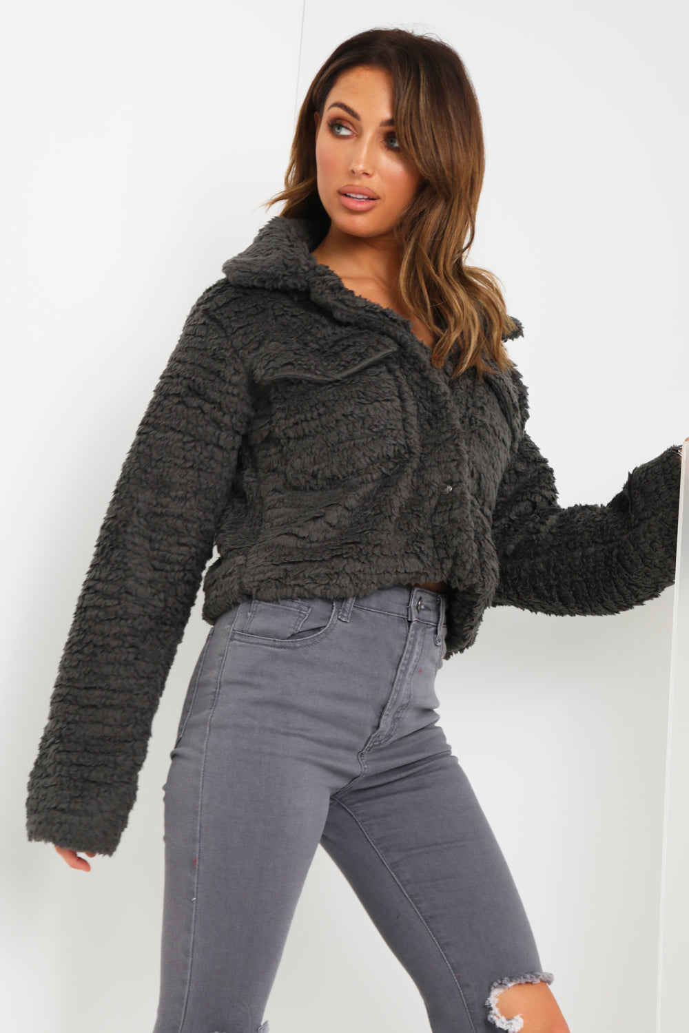Charcoal Teddy Faux Fur Trucker Jacket