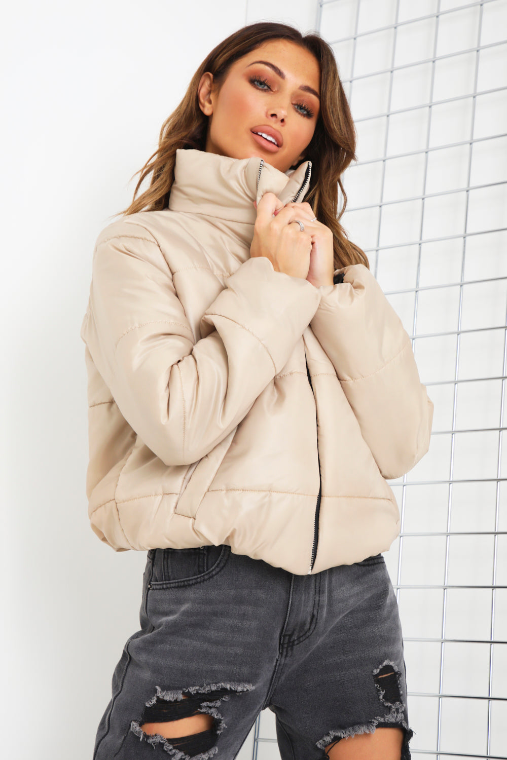 Stone Cropped Puffer Jacket