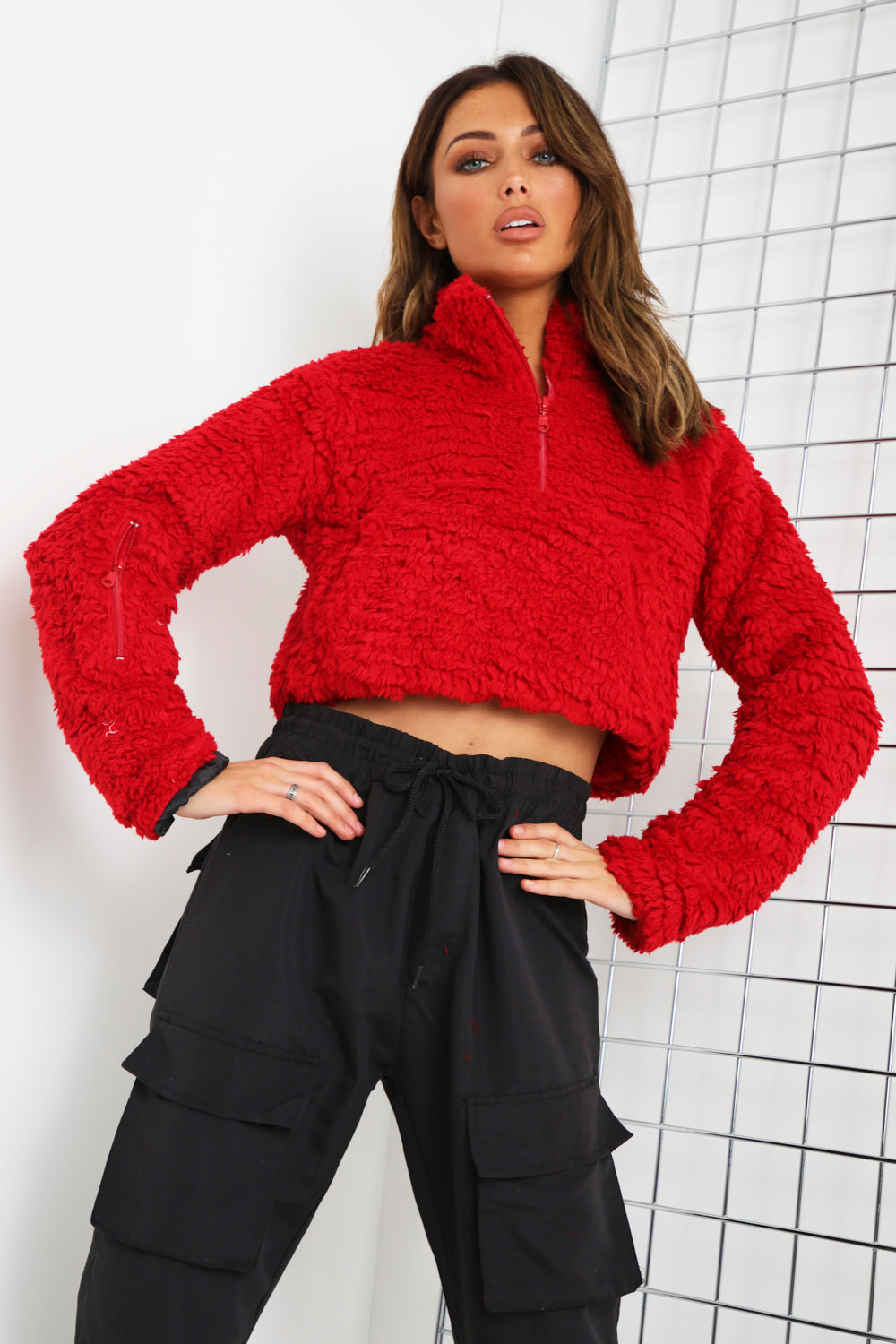 Red Teddy Faux Fur Zip Front Sweater