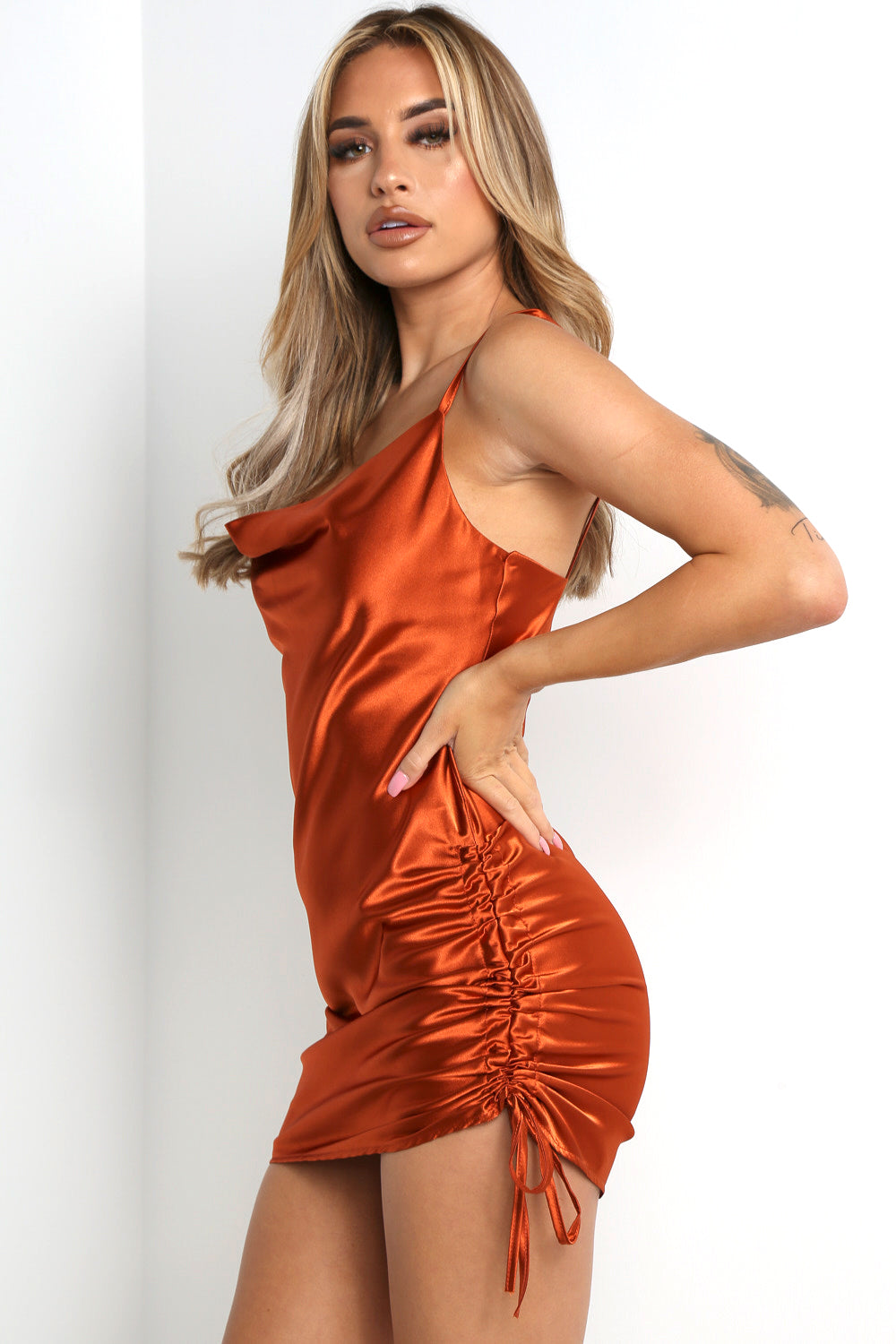 Rust Satin Side Ruched Slip Dress