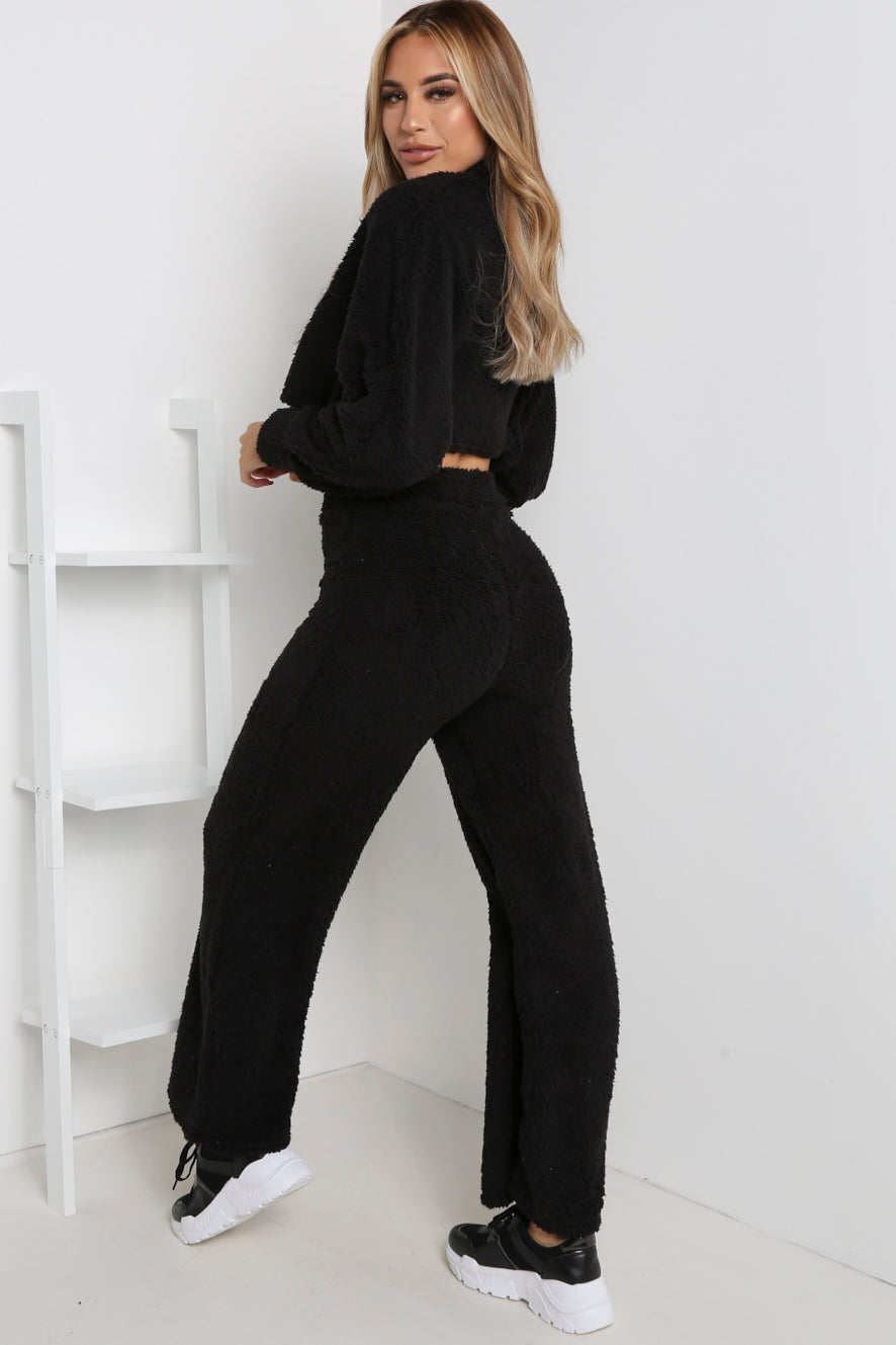 Black Teddy Jumper And Wide Leg Trouser Co-ord