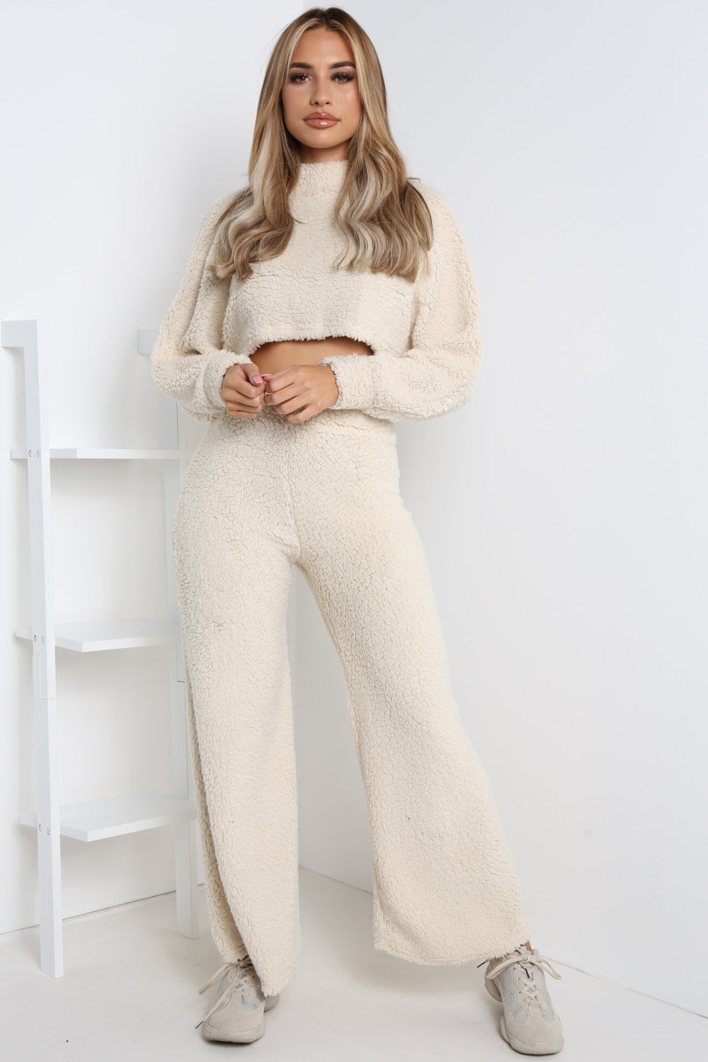 Cream Teddy Jumper And Wide Leg Trouser Co-ord