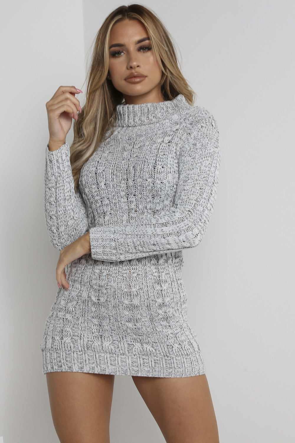 Grey Cable Knitted Bodycon Jumper Dress