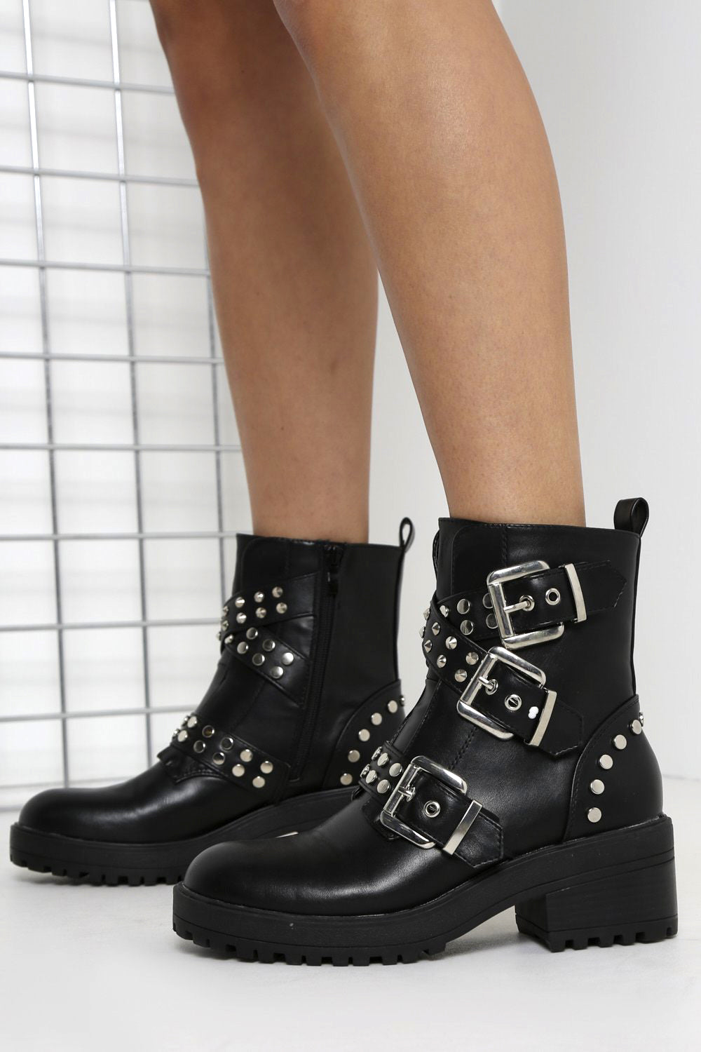Black Studded Buckled Boots