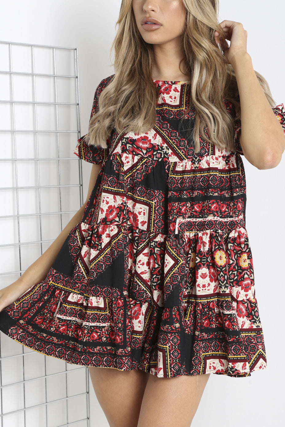 Red and Black Floral Frill Smock Dress