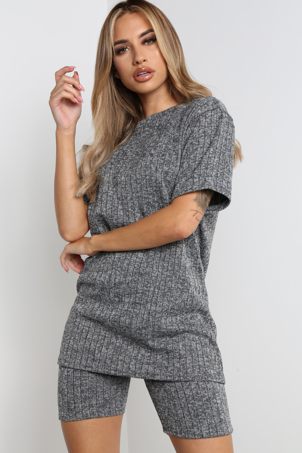 Grey Ribbed Cycling Shorts Co-ord Loungewear Set