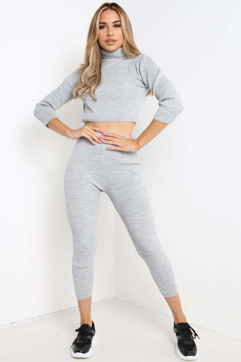 Grey High Neck Cropped Loungewear Set