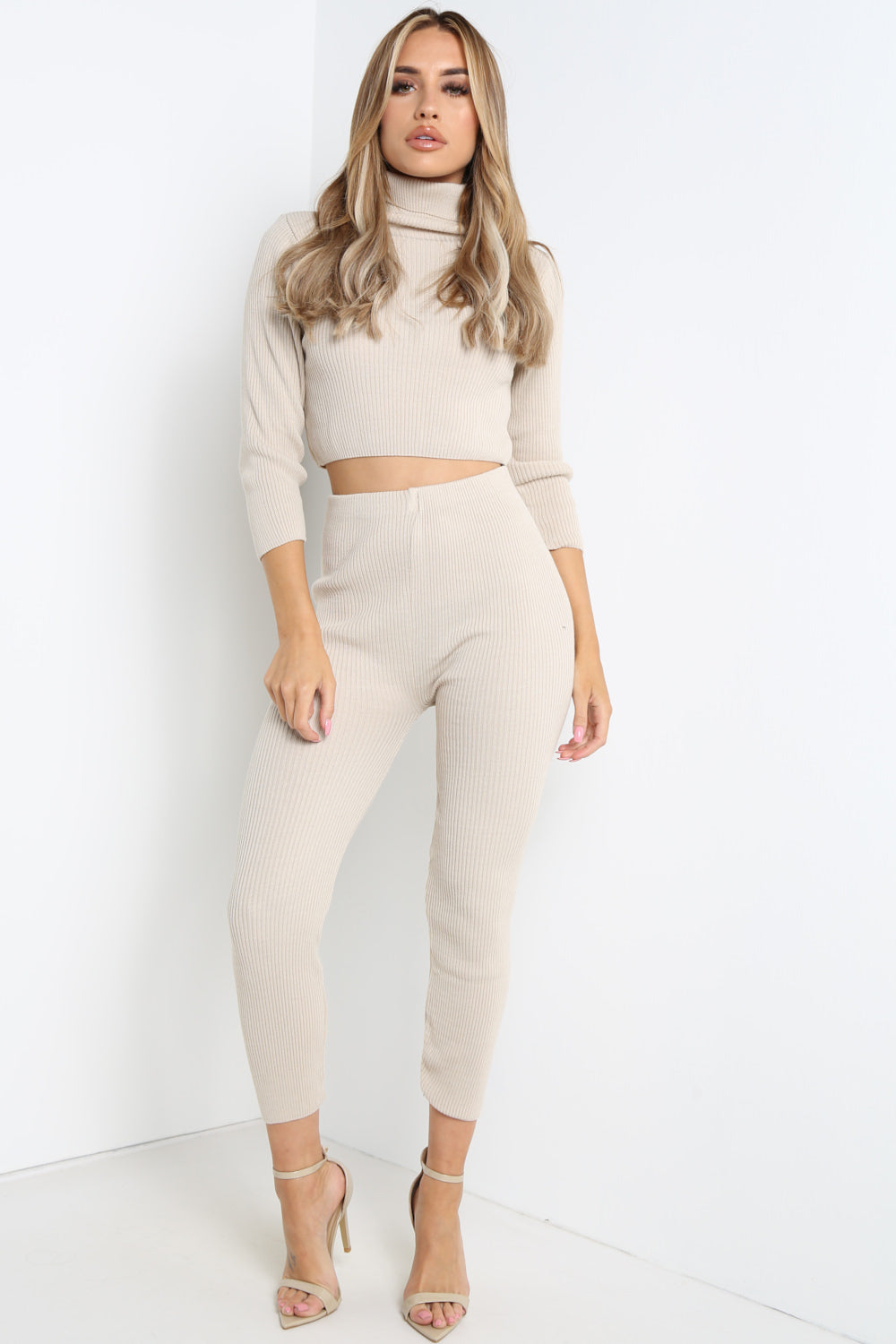 Beige High Neck Cropped Loungewear Set