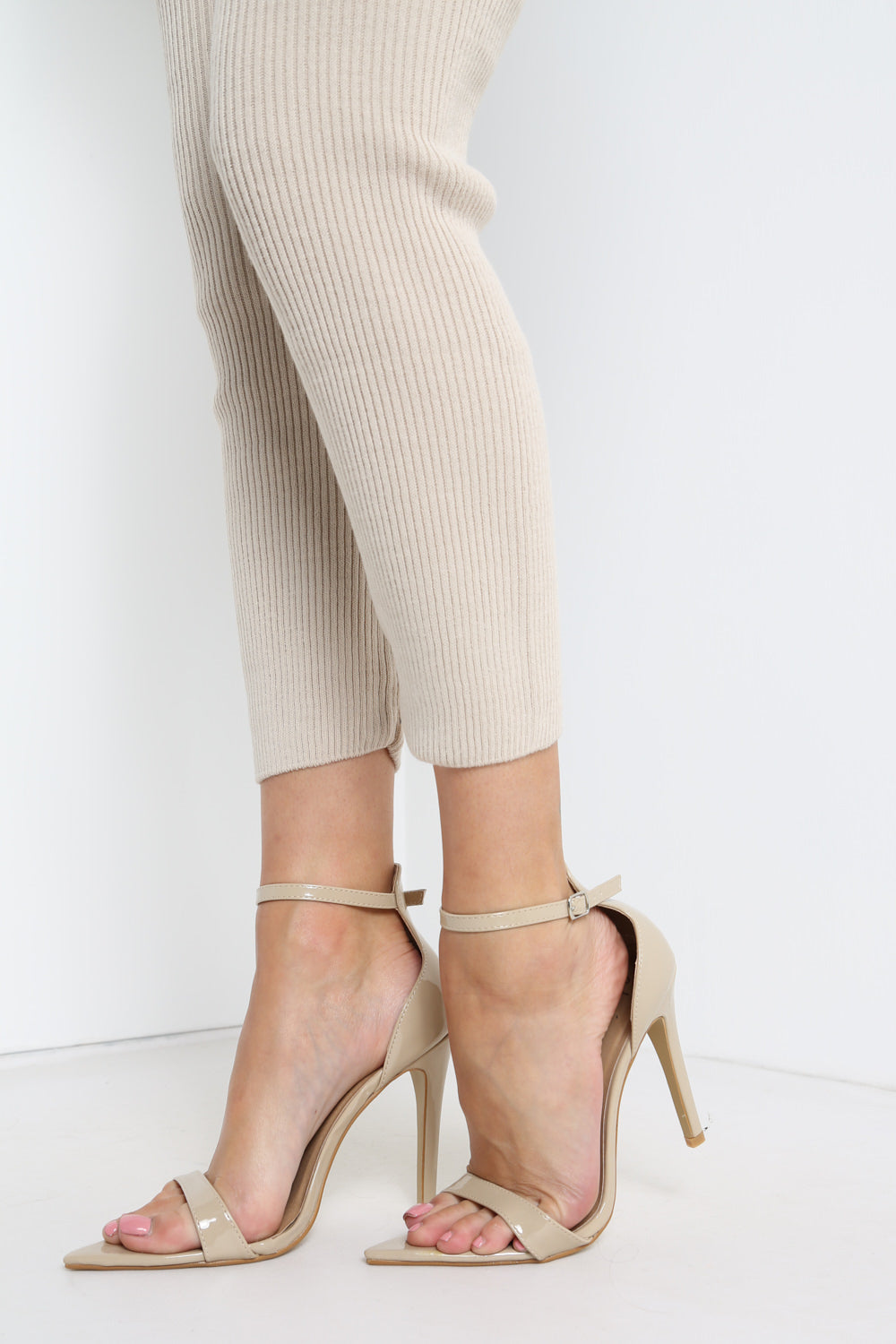 Nude Ankle Strap PatentPointed Heels