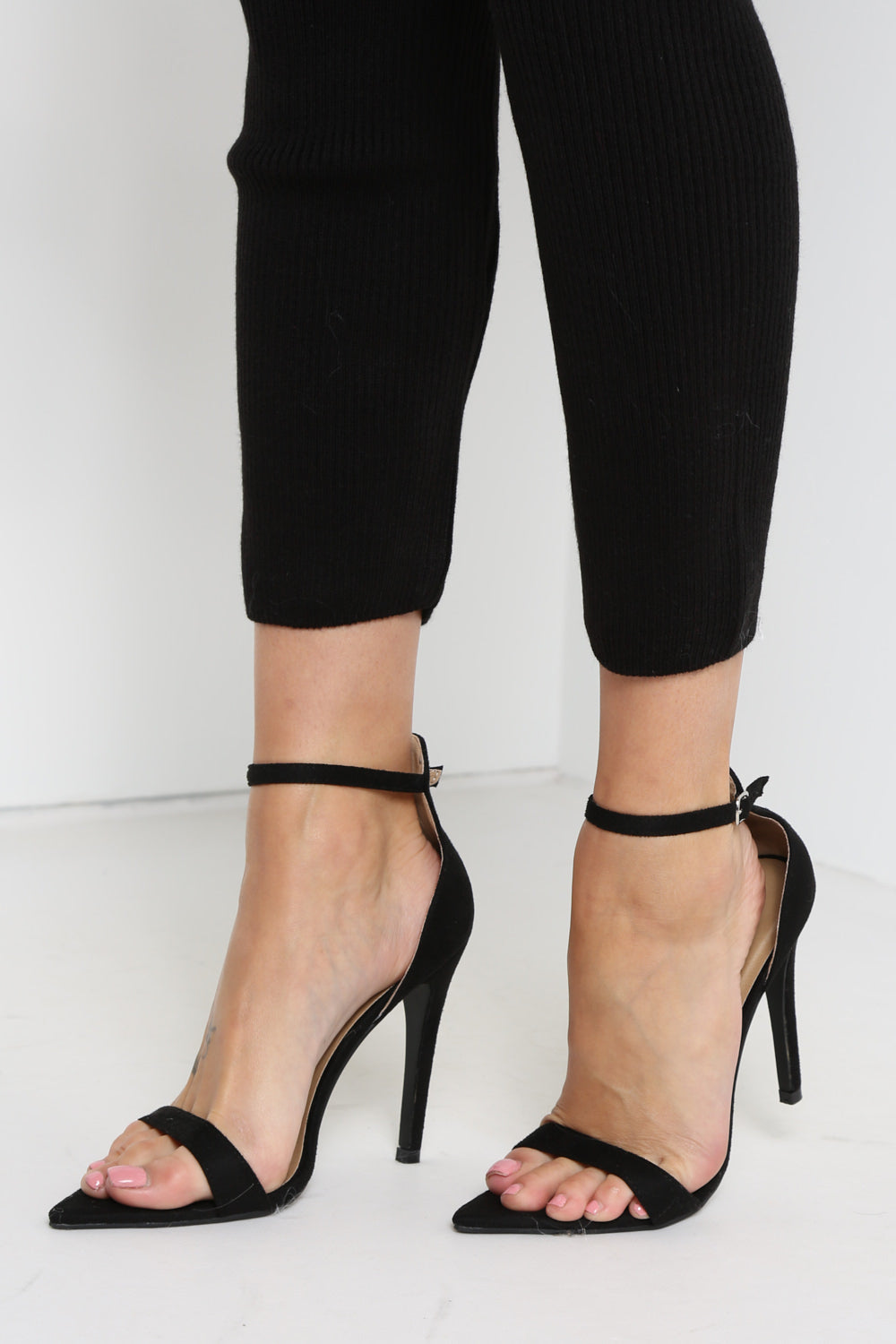 Black Ankle Strap Suede Pointed Heels