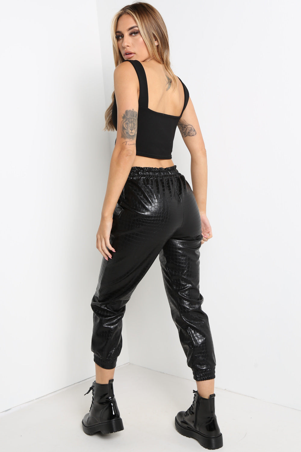 Black Snake Print Faux Leather Joggers